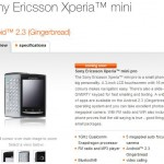 Xperia Mini Pro showing on the Orange website