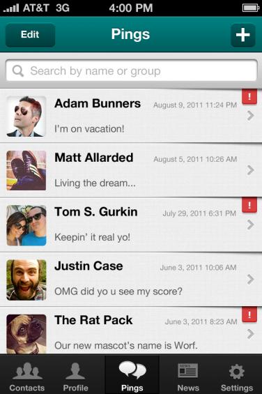 PingMe Friends List