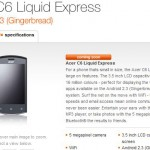 Orange schedule the Acer C6 Liquid Express