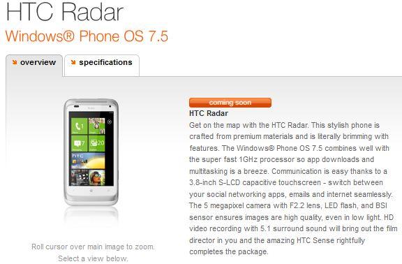 htc radar 75