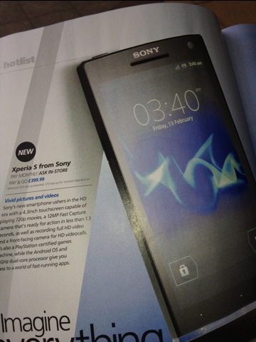 Xperia S O2 PAYG Price Revealed
