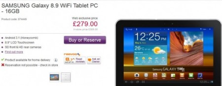 Galaxy Tab 8.9   Down to just £279