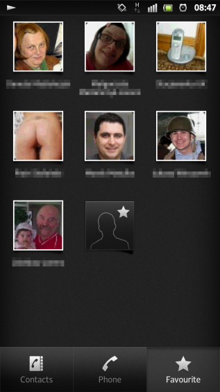 SXS screenshot contacts favourites