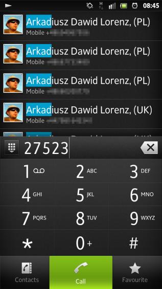 SXS screenshot dialer