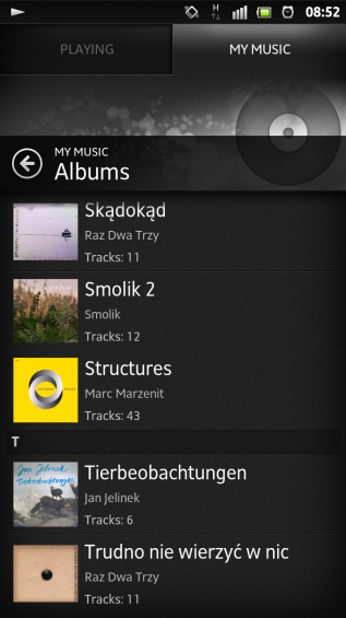 SXS screenshot music albums