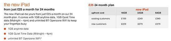 Orange Announce iPad Pricing