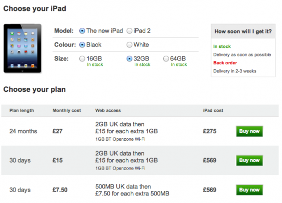 Vodafone iPad Pricing Announced