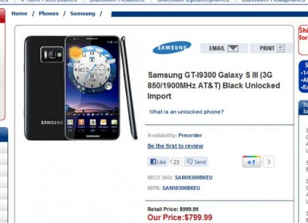 Samsung Galaxy SIII Pictured and ready for pre order?