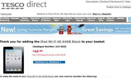 Get the all new iPad from Tesco for just £49.99 .. yeah, right.