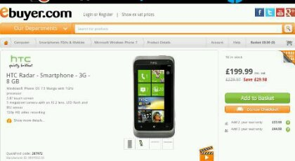 HTC Radar, now down to just £199