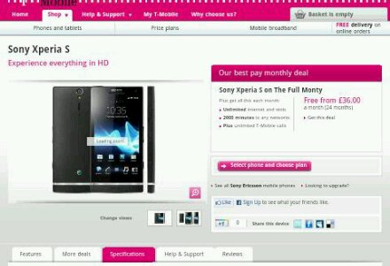 Xperia S now available to buy on T Mobile