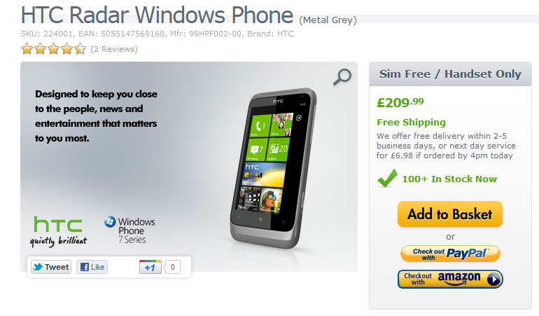 HTC Radar Windows Phone selling rather cheaply