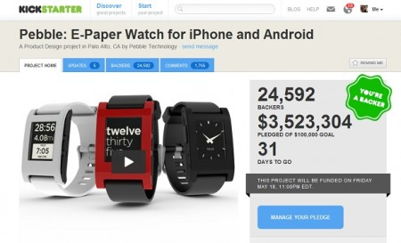 Pebble E Paper Smart Watch Breaks Kickstarter records