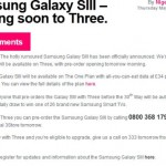 Three confirm the Galaxy SIII – Free on certain plans