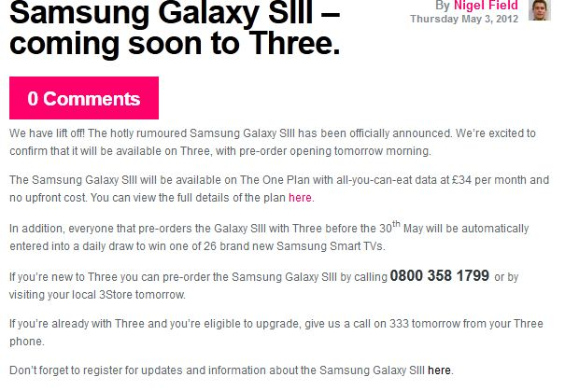 Three confirm the Galaxy SIII   Free on certain plans