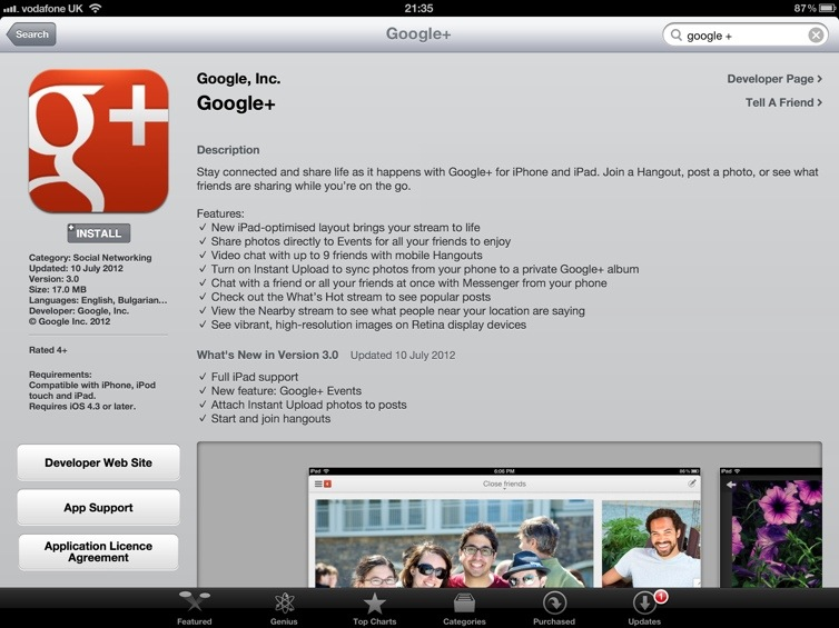 Google+ Comes To The iPad
