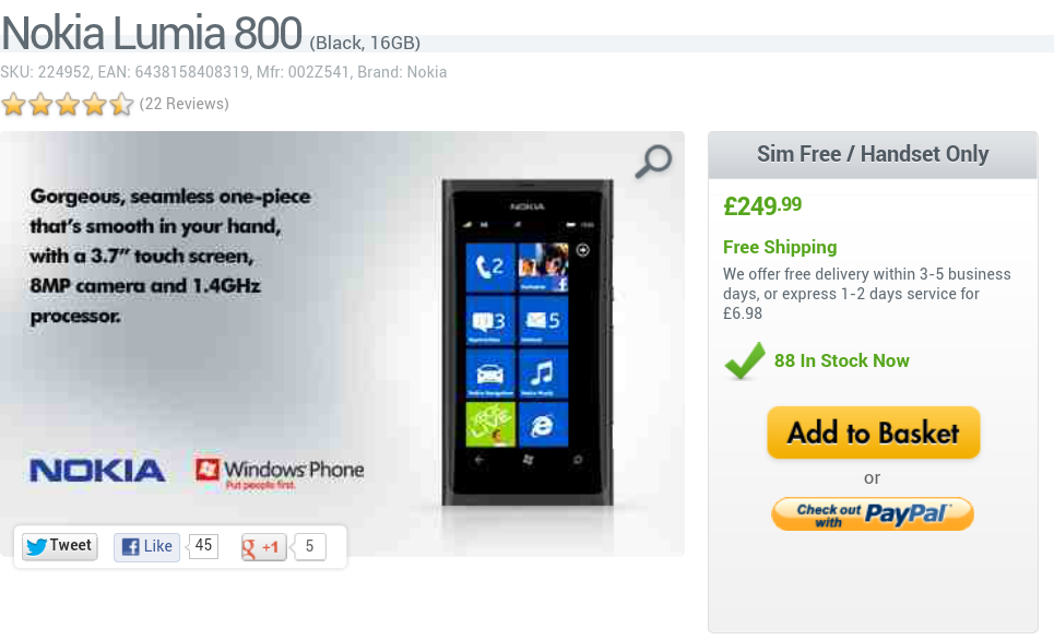 Nokia Lumia 800 going cheap today