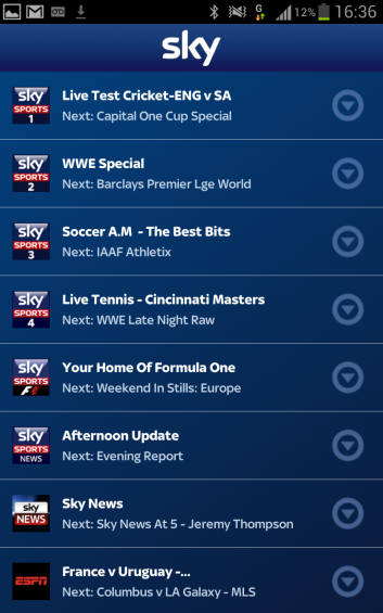 Sky Sports TV, now for Android too