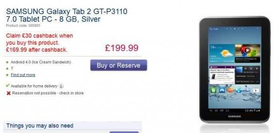 Galaxy Tab 2 7   Available for £166.99