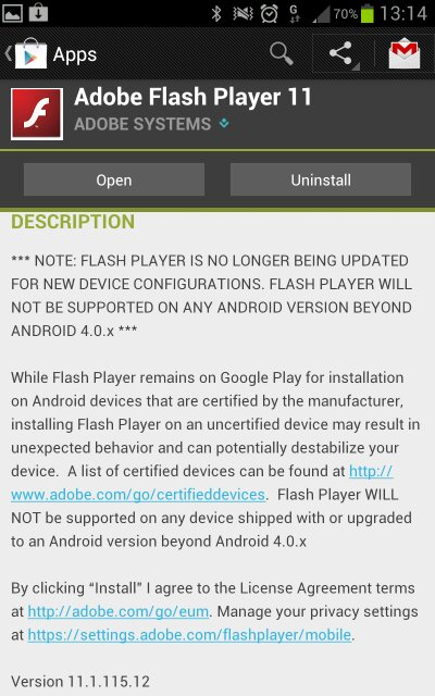 Flash says goodbye to Android