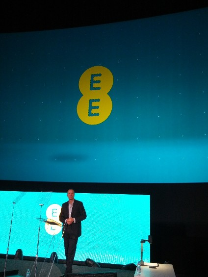 Olaf Swantee beneath new EE logo