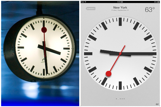 apple clock against swiss national railway clock