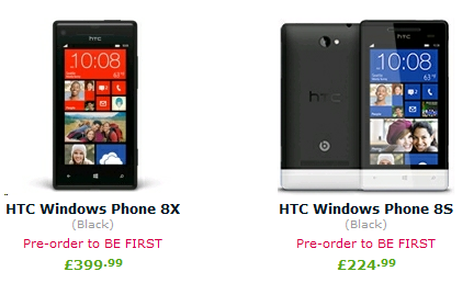 HTC 8X and 8S Prices