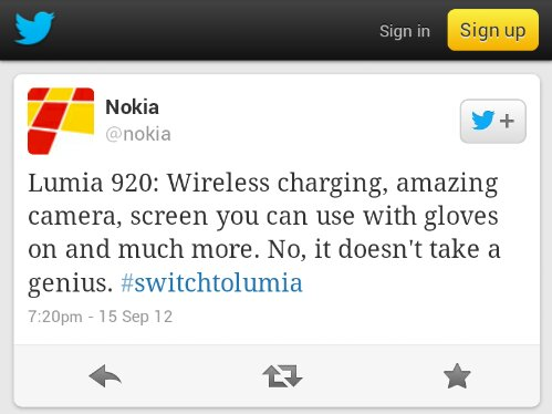 Nokia join in with the whole it doesnt take a genius circus