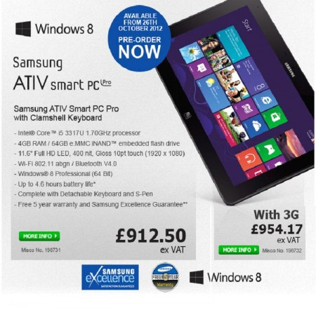 Samsung Ativ Smart PC and Smart PC Pro up for pre order