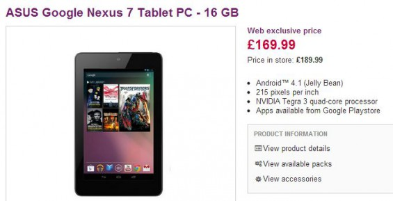 Nexus 7 16GB now down to £169.99