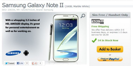 Galaxy Note II up for £529.99 SIM free