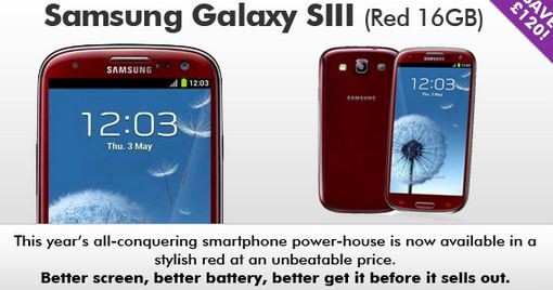Galaxy SIII   Now available in red