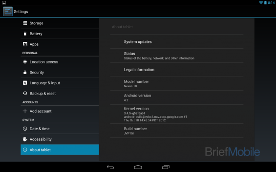 nexus 10 about tablet