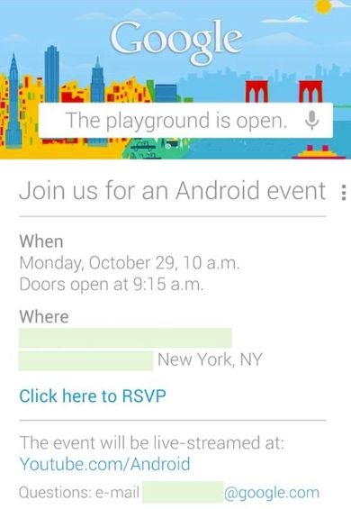 Google event scheduled for October 29th   bring on the fun!