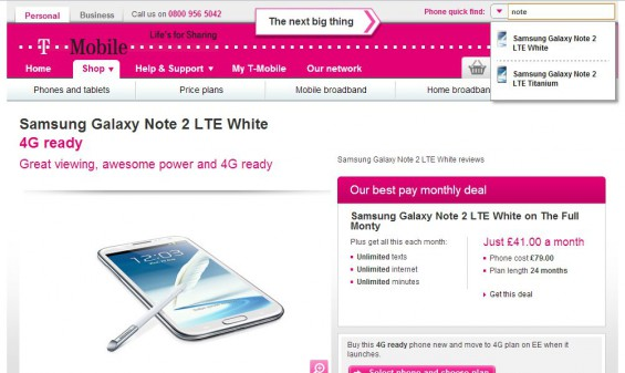 Samsung Galaxy Note II available on T Mobile
