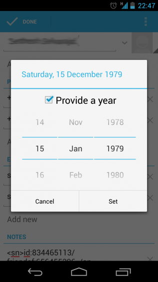 december missing contact with birthday set