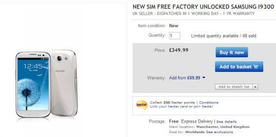 Galaxy SIII in eBay Sunday Spectacular   £349.99