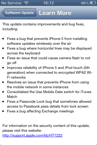 iOS 6.0.1 released; iOS 6.1 now available for developers