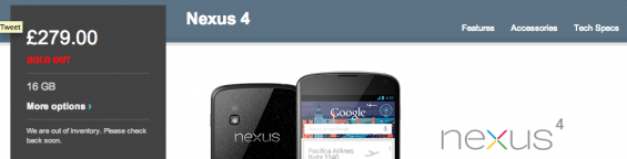 Nexus 4 back to sold out status