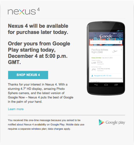 Nexus 4 back in stock at 5pm