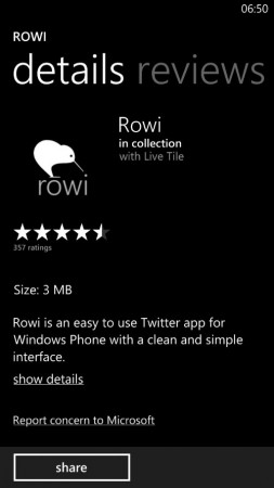 Twitter app Rowi for Windows Phone gets updated