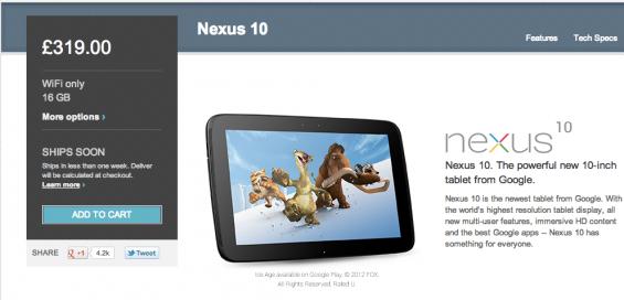 Nexus 10 back in stock at Google
