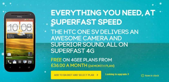 HTC One SV LTE   Buy it on EE right now.