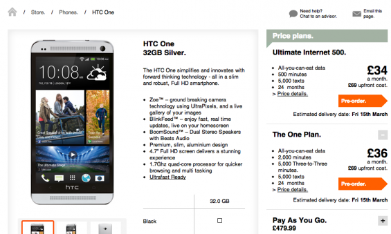 Pre order HTC One on Three today