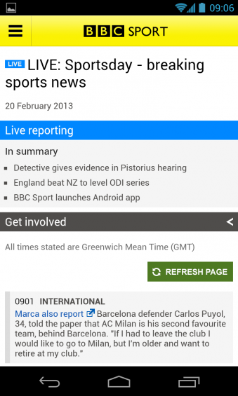 BBC Sport App now available on Android