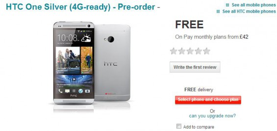 HTC One available to pre order on Vodafone