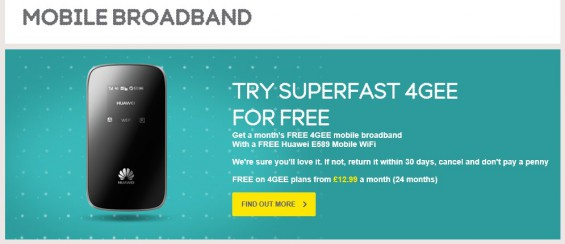 Try superfast 4GEE for free