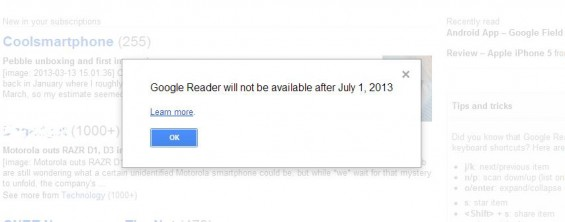 Google Reader to be removed in July