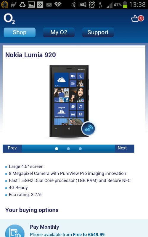 Lumia 920 available on O2