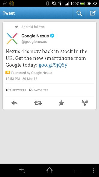 Nexus 4 back in stock once more at Google Play